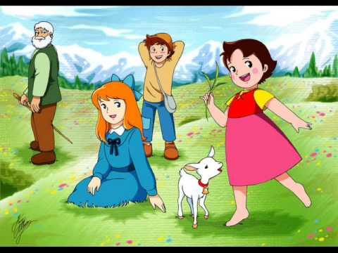 Da sinistra, il Vecchio dell'alpe, Clara, Peter ed Heidi. L'unico che non sembra dover necessitare di cure mediche nell'immediato è Peter.