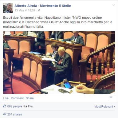 Napolitano e la Cattaneo gomblottano a favore degli OGM